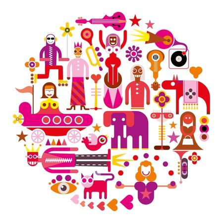 Circus Show - ronde vector illustratie op witte achtergrond. Set van geïsoleerde iconen. Stock Illustratie