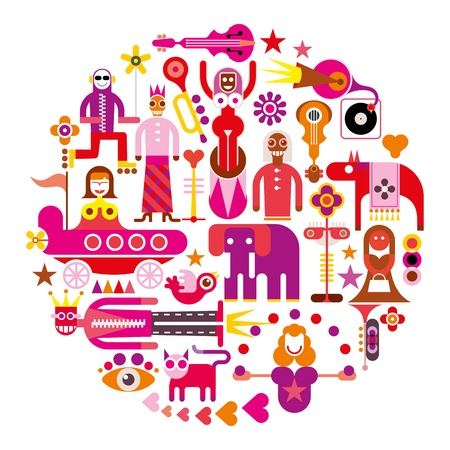 Circus Show - round vector illustration on white background. Set of isolated icons.