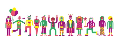 procession: Carnival procession - isolated vector illustration on white background.