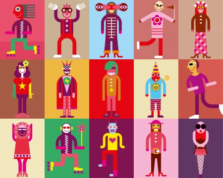 People in carnival costumes - vector illustration Çizim