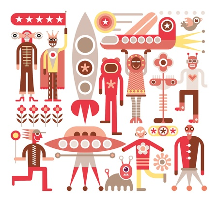 space robot: Humans meet friendly aliens from other planets. Space travelers. Vector illustration on white background.