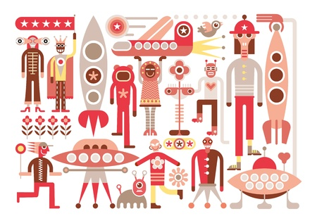 other space: Humans meet friendly space travelers from other planets. Isolated vector illustration on white background.
