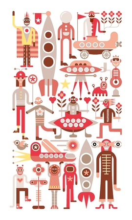Humans meet friendly space travelers from other planets. Isolated vector illustration on white background.