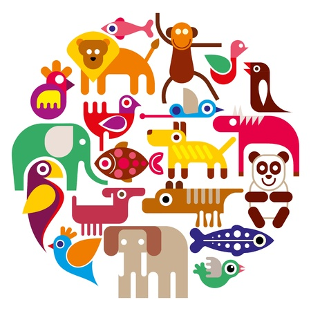 Animals - round vector illustration on white background Çizim