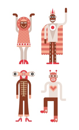 Four people in funny carnival costumes  Isolated vector icons on white background Stock Vector - 19663999