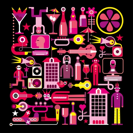 Night Club - illustration vectorielle. Isolé sur fond noir. Banque d'images - 19664005