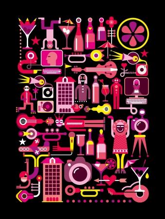 Party Night Club - illustration vectorielle. Isolé sur fond noir. Banque d'images - 19664014