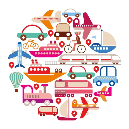 people travelling: Travel and Transport - isolated round illustration on white background