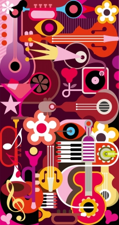 Abstract Music Background - vector illustration. Collage with musical instruments. Vector