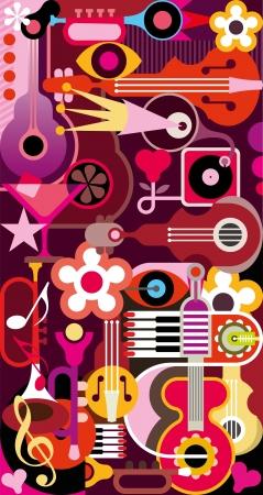 instrumentos musicales: Resumen de m�sica de fondo - ilustraci�n vectorial. Collage con los instrumentos musicales. Vectores
