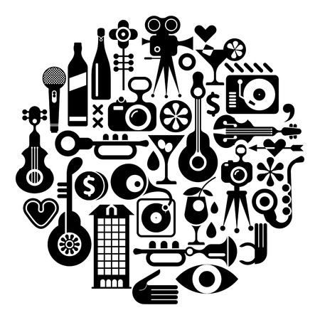 Music and Movie - isolated round vector illustration. Black on white background. Circle background. Stock Vector - 19881669