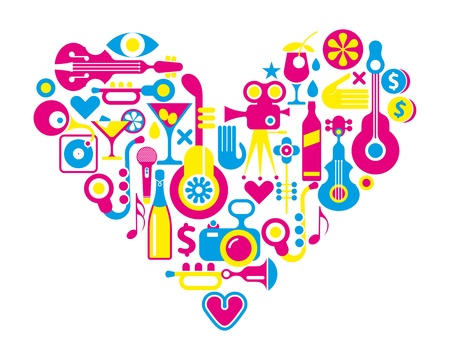 Cinema love. Music and Movie - heart shape with many isolated vector icons. Stock Vector - 19881665