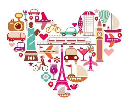 Travel Love - shape of heart with many isolated vector icons.