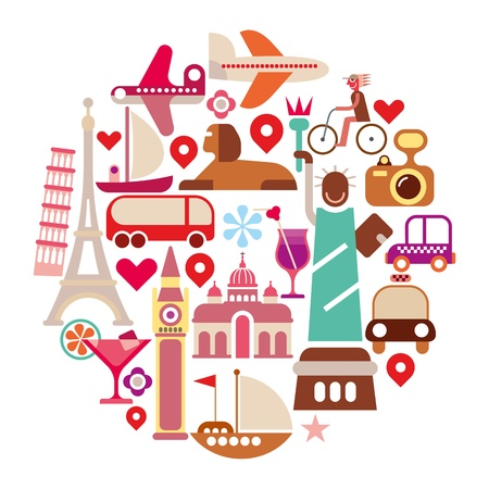 Travel Icons - round  illustration. Isolated on white background. Çizim