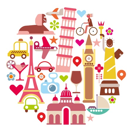 Travel - round illustration. Isolated icons on white background. Landmarks. Vector