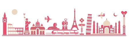여행: 세계 랜드 마크 - 흰색 배경에 고립 된 그림입니다. 엘리자베스 타워, 빅 벤, 콜로세움, 자유, 성 베드로 대성당, 기자 대 스핑크스, 에펠 탑, 피사의 사탑, 타지 마할의 동상.