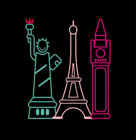 elizabeth tower: Landmarks - neon lights on black. Isolated  illustration.Statue of Liberty, Big Ben, Eiffel Tower. Illustration