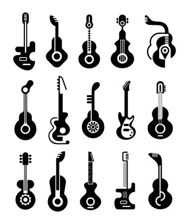 Guitars - set of isolated icons. Black on white background. Can be used as logo. Vector