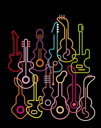 Guitar silhouettes on black background. illustration. Stock Vector - 20197873