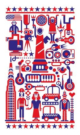 7 月 4 - ニューヨーク市の独立記念日。赤、青と白のイラスト。