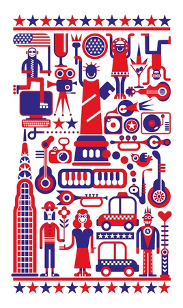 Fourth of July - Independence Day in New York City. Red, blue and white  illustration. Çizim