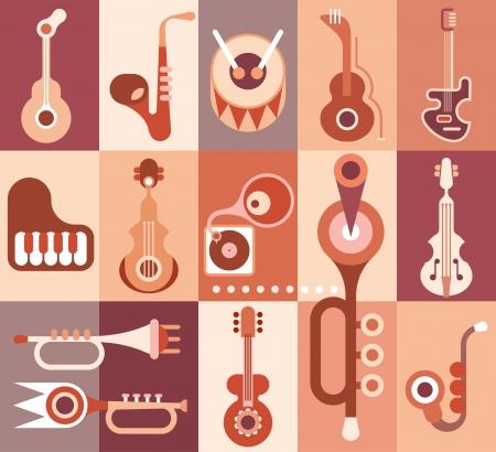 orquesta: Instrumentos musicales de guitarra, piano, saxofón, violín, trompeta y la ilustración tambor Vectores