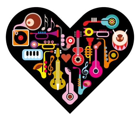 Love Music Heart  Musical instruments on heart shape background  Isolated icon set  Vector