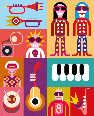 percussion: Music collage - vector illustration with people and musical instruments. Illustration