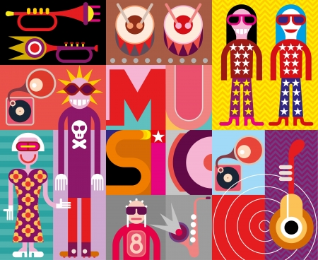 warhol: Musical collage - pop art vector illustration with people, musical instruments and inscription Music. Illustration