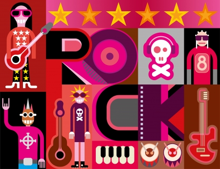 Musical collage - pop art vector illustration with people, musical instruments and inscription 'Rock'. Vector