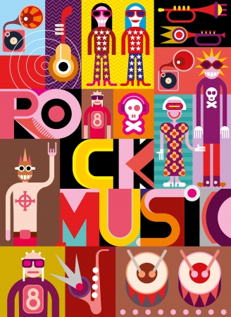 Rock Music. Musical collage - vector illustration