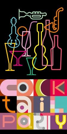 """cartel con siluetas de instrumentos musicales, vasos, botellas y cócteles inscripción """"Cocktail Party"""". Diseño del texto geométrica. Ilustración de vector"""