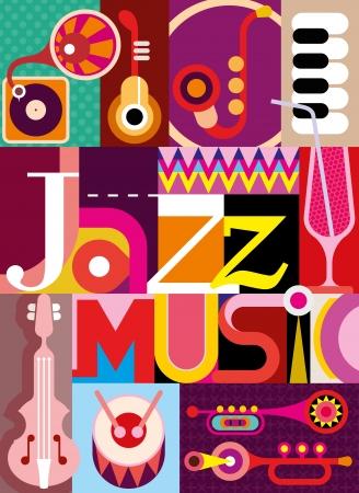 ジャズ。音楽的なコラージュ - 碑文「ジャズ」と楽器イラスト。フォントを設計します。
