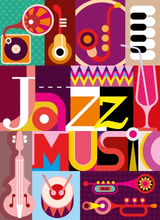 Jazz. Musical collage - illustration with musical instruments and inscription 'Jazz Music'. Design with fonts. Vector