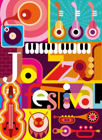 Musical abstract collage - illustration with musical instruments and inscription 'Jazz Festival'. Design with fonts. Vector