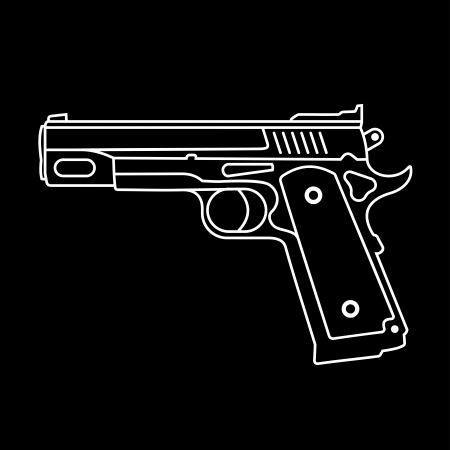 automatic pistol: Semi-Automatic Pistol - isolated icon on black background. Graphic design. Illustration