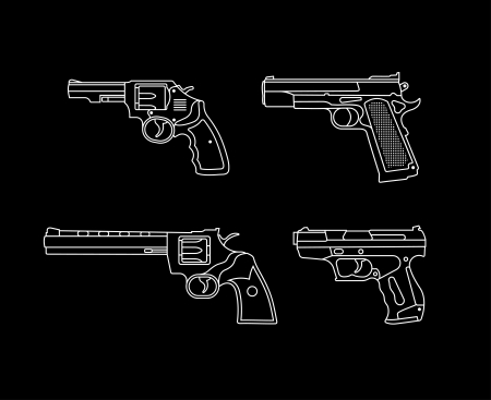 Handgun. Pistols and Revolvers - set of vector icons. Isolated on black background. Vector