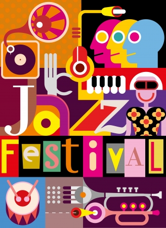 onlooker: Musical abstract collage - vector illustration with musical instruments and inscription Jazz Festival. Design with fonts. Illustration