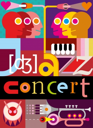 Music Background. Abstract collage - vector illustration with people, musical instruments and inscription Jazz Concert. Design with fonts. Vector