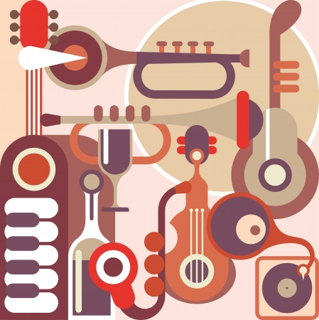 jazz music: Abstract Music Background - vector illustration. Collage with musical instruments.