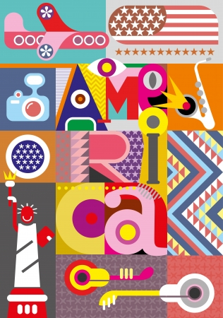 America - vector collage. Illustration with inscription
