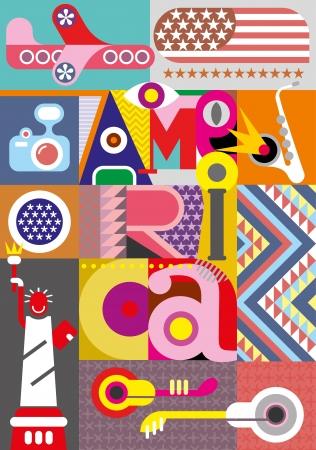 """America - vector collage. Illustratie met opschrift """"America""""."""