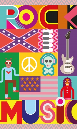 piano roll: Rock and Roll concert poster. Musical collage - vector illustration with text Rock Music.