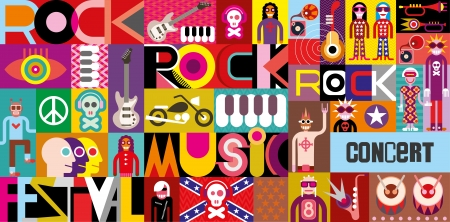 rock n: Rock Concert Poster. Musical collage - vector illustration with inscriptions Rock Festival, Rock Music and Rock Concert.