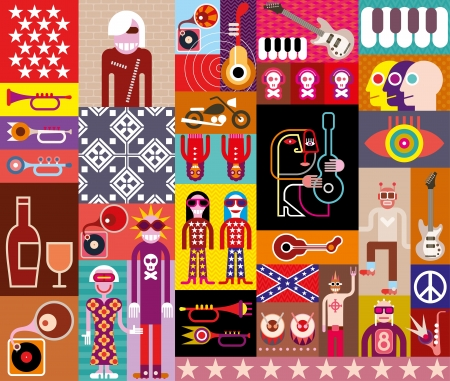 piano roll: Rock Music Collage - vector illustration. Composition of various related images.