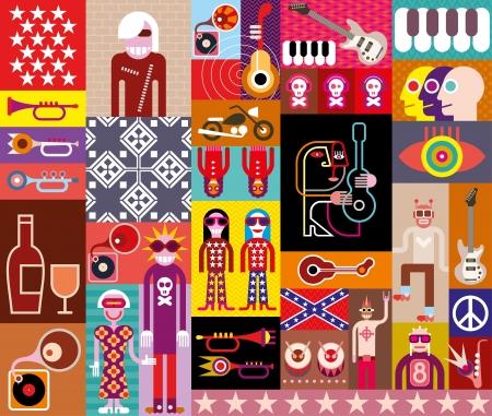 Rock Music Collage - vector illustratie. Samenstelling van diverse aanverwante beelden.