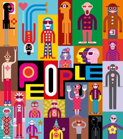 """Mensen. Kunst samenstelling van abstracte portretten. Vector ontwerp met de tekst """"People""""."""