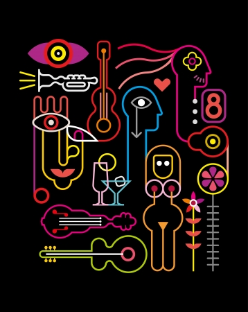 Abstract Neon Composition - vector illustration on black background. Stock Vector - 21874214