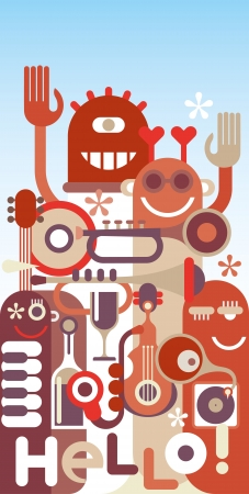 frendship: Funny Musicians. Music Band - vector illustration with text Hello! Illustration