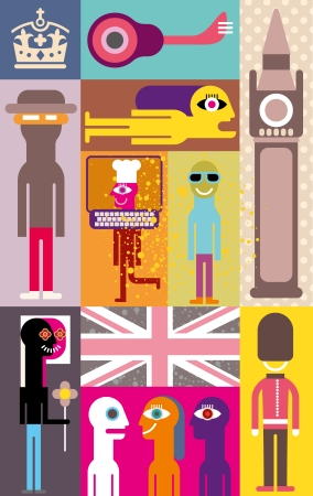 elizabeth tower: London - vector illustration. Art composition. Illustration